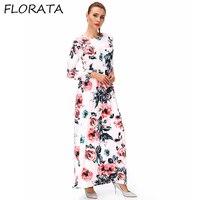 Maxi Long Casual Dresses Three Quarter Sleeve O neck Ankle Length Dress Flower Printed Sundress Ladies Elegant Dresses