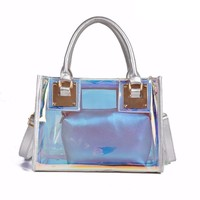 2018 crossbody bags for women leather handbags luxury handbags women bags designer laser pvc tote shoulder purse bag sac a main