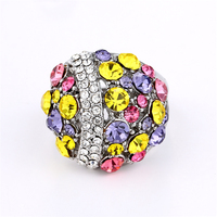 Elegant Fashion Colorful Crystal Rings White Plated Champagne Blue Austrian Crystal Hollow Out Women Wedding Ring Gift