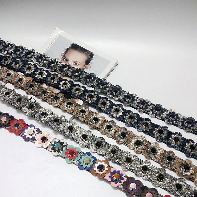 e1c156af40c2d3 Fashion pu leather snakeskin pattern flowers rivets ladies handbag  accessories women's shoulder belt 4 colors