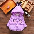 New girls abrigo de invierno uniforme de los niños color puro de Alta calidad de conejo de dibujos animados Con Capucha de invierno ropa de abrigo