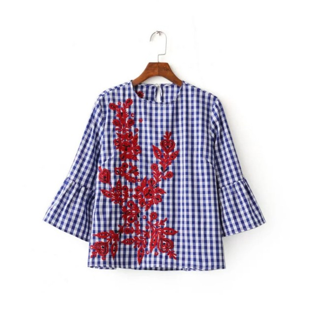 2017 Women Blouse Casual Embroidered Printed Striped Long Sleeve Shirt Turn-down Collar Tops cotton flare sleeve loose shirts
