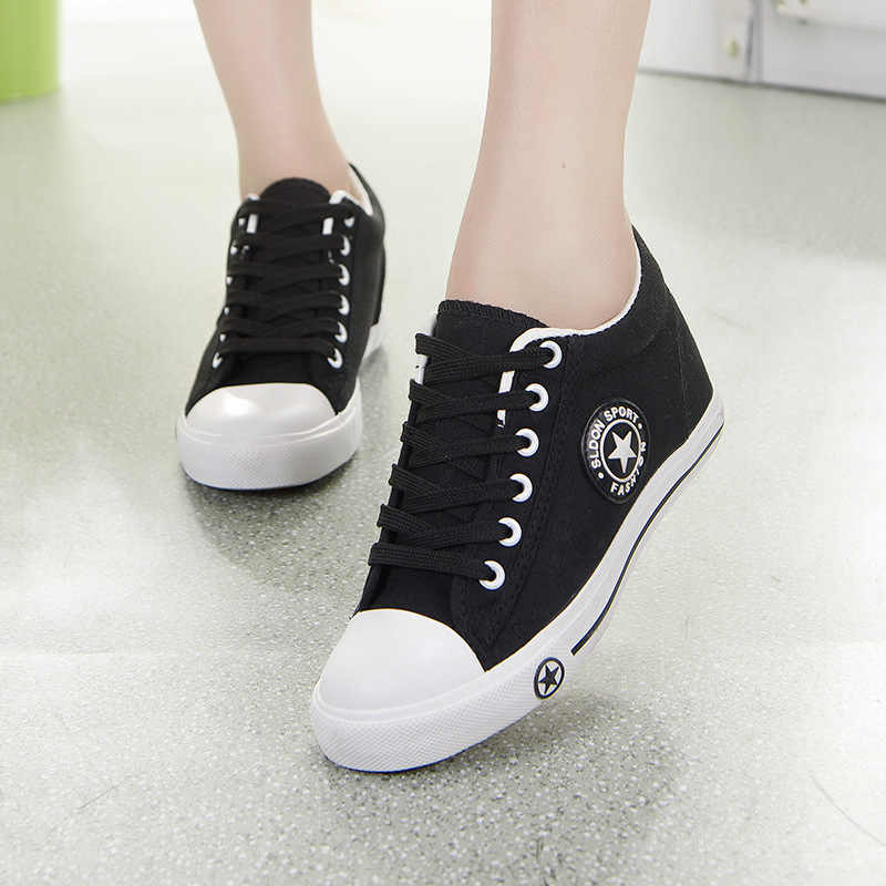 Taomengsi Tinggi Baru Kanvas Sepatu Di Flat Bottom Girls Shoes Tie Wanita Rekreasi Siswa Olahraga Sepatu
