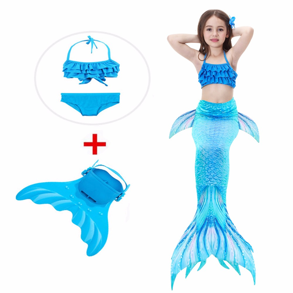 2018 Children Mermaid Tail with monofin Swimmable Filpper Costume for Girls Kids  Halloween Cosplay Costumes Swimming Swimwear