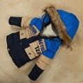 Marca Parka Crianças Meninos Meninas Com Capuz De Pele Para Baixo Jaqueta de Inverno 2016 Para Baixo Casacos para Meninos Crianças Quente Outwear & Brasão para o Frio