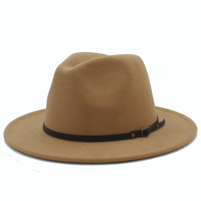 Wool Fedora Hat Hawkins Felt Cap Wide Brim Ladies Trilby Chapeu Feminino Hat  Women Men Jazz Church Godfather Sombrero Caps c993e0128b7