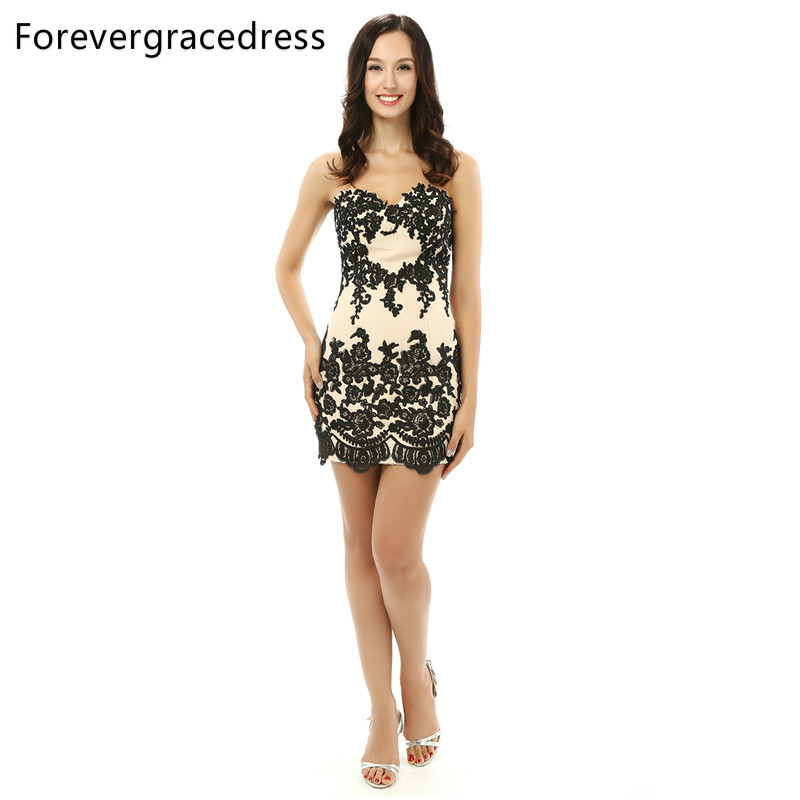 Forevergracedress 2018 Real Photo Straight Cocktail Dress Sexy Sweetheart Sleeveless Short Mini Evening Party Gown Plus Size