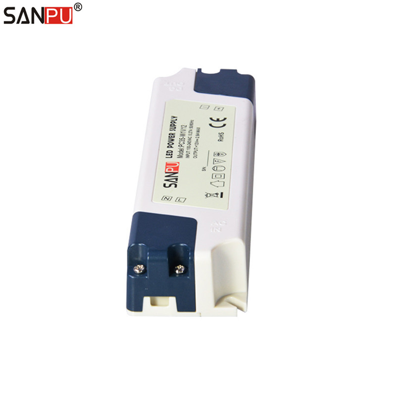 SANPU SMPS LED Driver Power Supply 12V DC 35W 3A Plastic IP44 Indoor Use Constant Voltage AC-DC Transformer for LED Tapes 28W