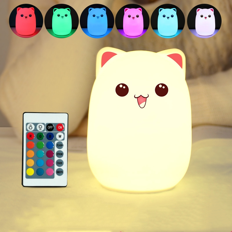 Cat Night Light for Kids Soft Kitty Bedside Lamp with Remote 16 Colors RGB Changing Rechargeable Xmas Halloween Birthday Gift for Teen Toddler