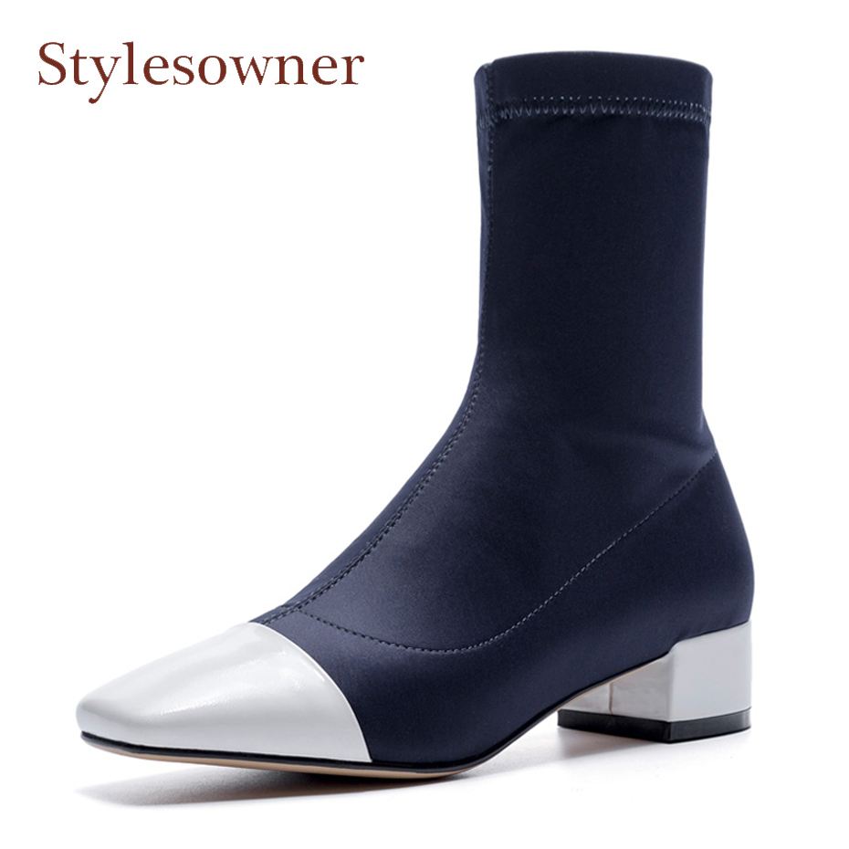 Stylesowner 2018 spring autumer elastic ankle boots women patent leather patchwork square toe chunky stretch fabric short boots