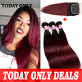 Lace Closure With 3 Bundles Brazilian Virgin Hair Straight Ombre Brazilian Hair With Closure Burgundy Brazilian Straight Hair
