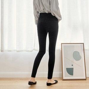 Image 4 - Leijijeans calça jeans feminina, cintura alta com botões, elástica, para outono, plus size, preta, 2020