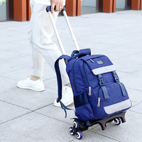 Kids Boy Rolling School Book Pack Trolley Bags Luggage Six Wheels Backpack Travel Foldable Bag Patchwork