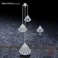 ANFASNI 925 Sterling Silver New White Micro Pave AAA Top CZ Long Earrings Fan shaped Asymmetric Tassel Earrings CGSER0057 B