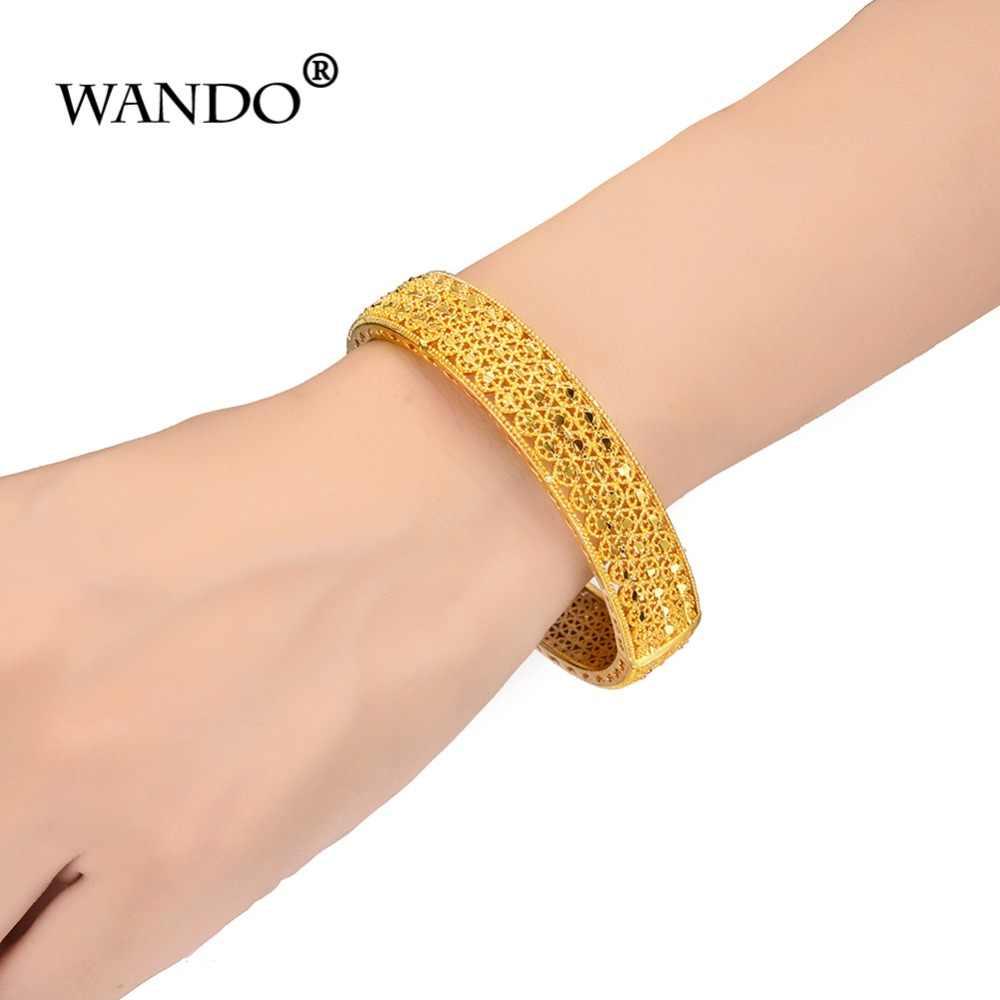 WANDO 4 pçs/lote Charme Pulseiras para Mulheres Marca de luxo da Cor do Ouro Oco Praia Férias Partido Pulseira jóias Indiano wb132