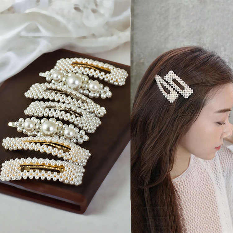 2019 Hot Fashion Versatile Imitation Pearl Hairpin Square Triangle Word Side Clip Bangs Clip Sweet Bride Hair Accessories