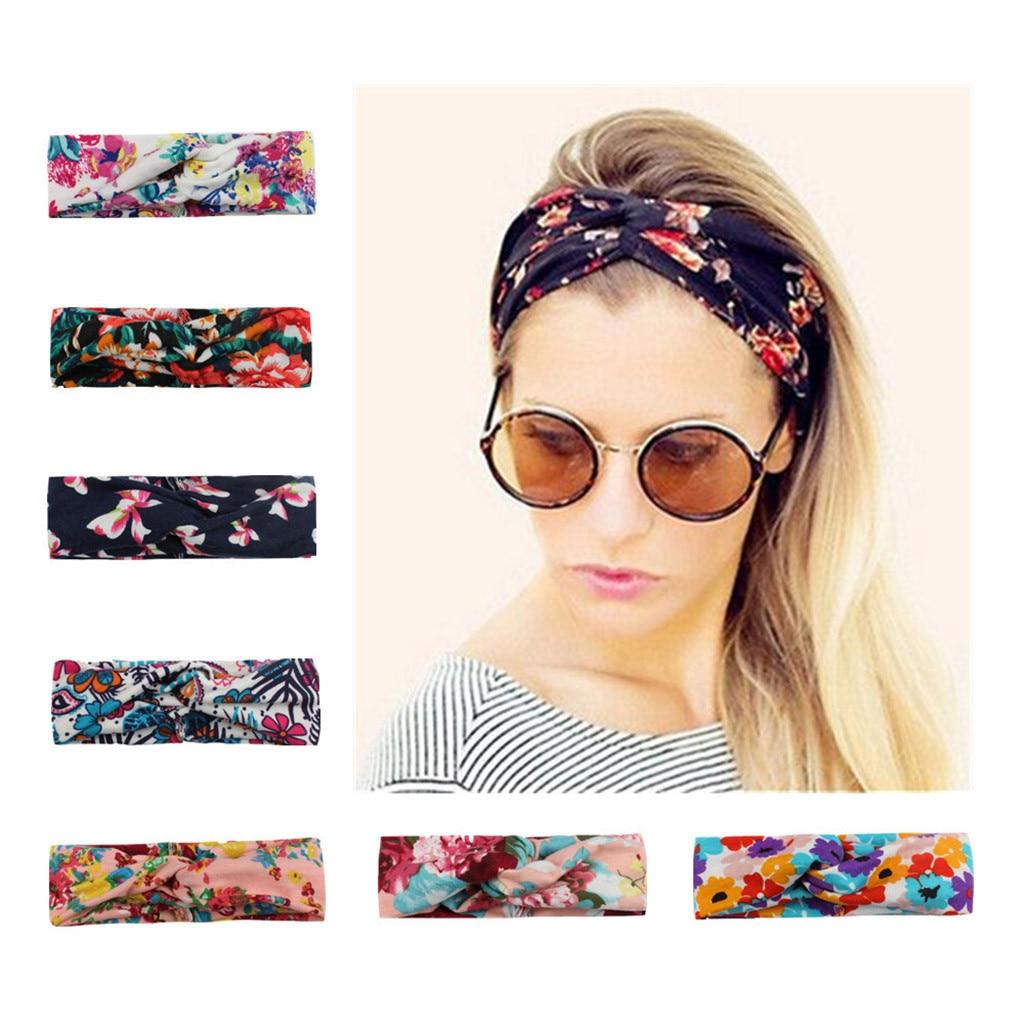 Hhot Air Bands For Women Ladies Twist Knot Pattern Headband Elastic Head Wrap Turban Hair Band Flower Diademas