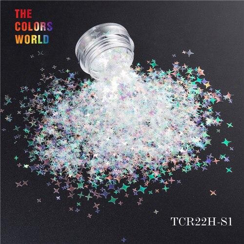 TCT-132, 12 цветов, четыре угла, форма звезд, блестки для ногтей, блестки для украшения ногтей, макияж, боди-арт, сделай сам - Цвет: TCR22H-S1  50g
