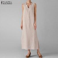 New Arrival 2017 ZANZEA Women Dress Summer Sexy V Neck Sleeveless Split Maxi Long Party Dresses