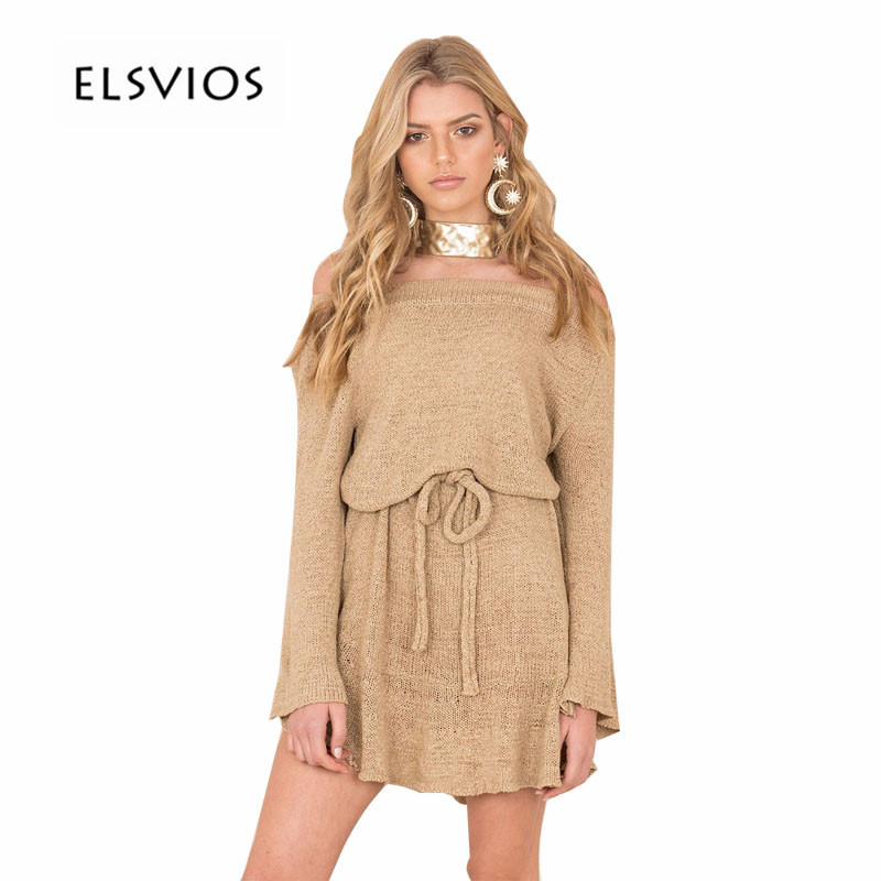 ELSVIOS New Autumn Winter Knitted Sweater Mini Dress Sexy Off Shoulder Long Sleeve Women Dresses Slash Neck Elegant A-Line Dress