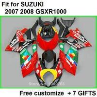 Дешевые мотоцикл обтекатель комплект для SUZUKI GSXR1000 2007 2008 красный черный кузов обтекатели комплект GSXR1000 07 08 bl69