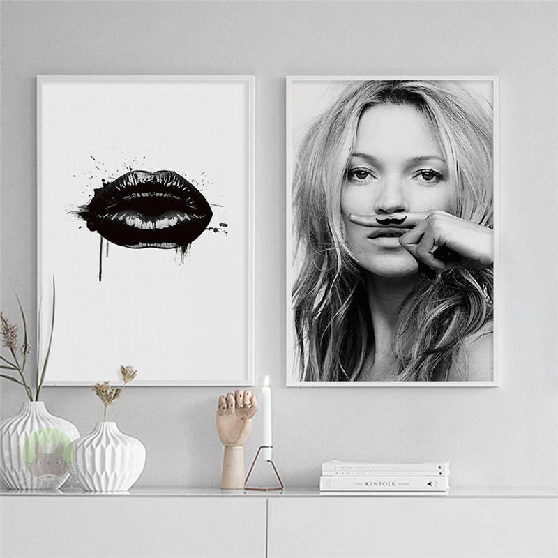 European Characters Supermodel Kate Moss Lipstick Canvas Painting Wall Poster Living Room Decoration Painting Home Decor