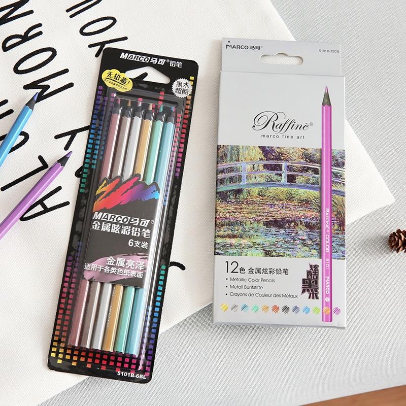 Marco de metal de madera negra, lápices metálicos, Juego de lápices profesionales de rafia para encontrar suministros de arte para pintar y dibujar, F495