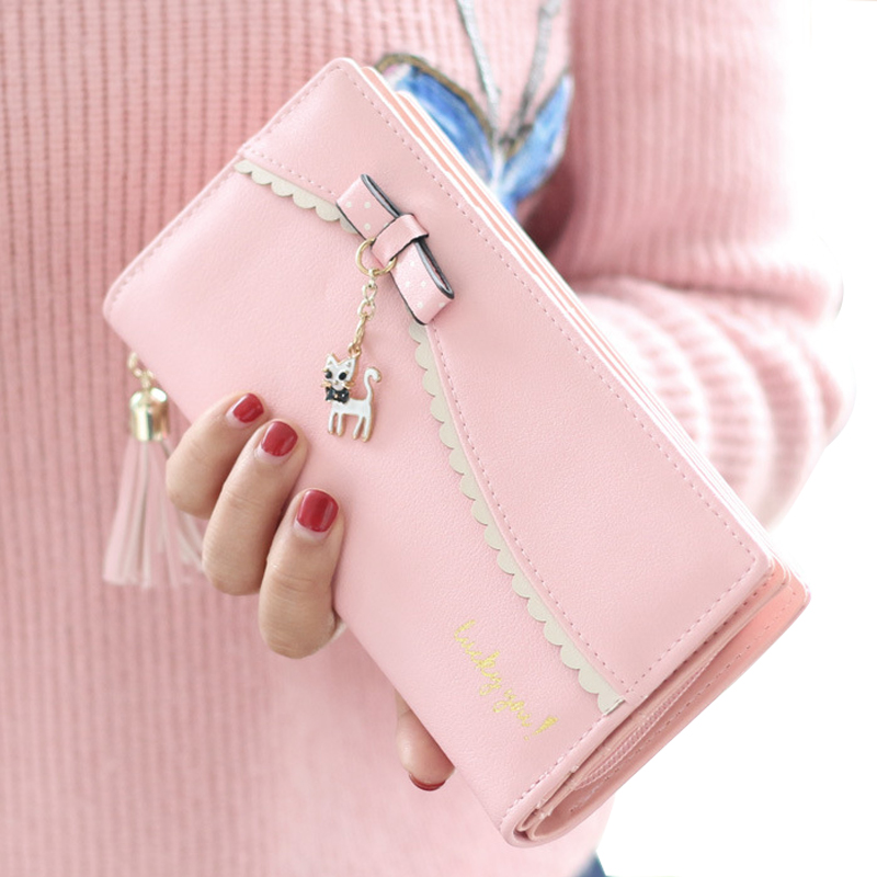 Wallet Women Purses Female Leather Wallet Coin Purses Card Photo Holder Bowknot Cute Cat Long Solid Fashion Cat Women Clutch 2017 new ladies purses in europe and america long wallet female cards holders cartoon cat pu wallet coin purses girl