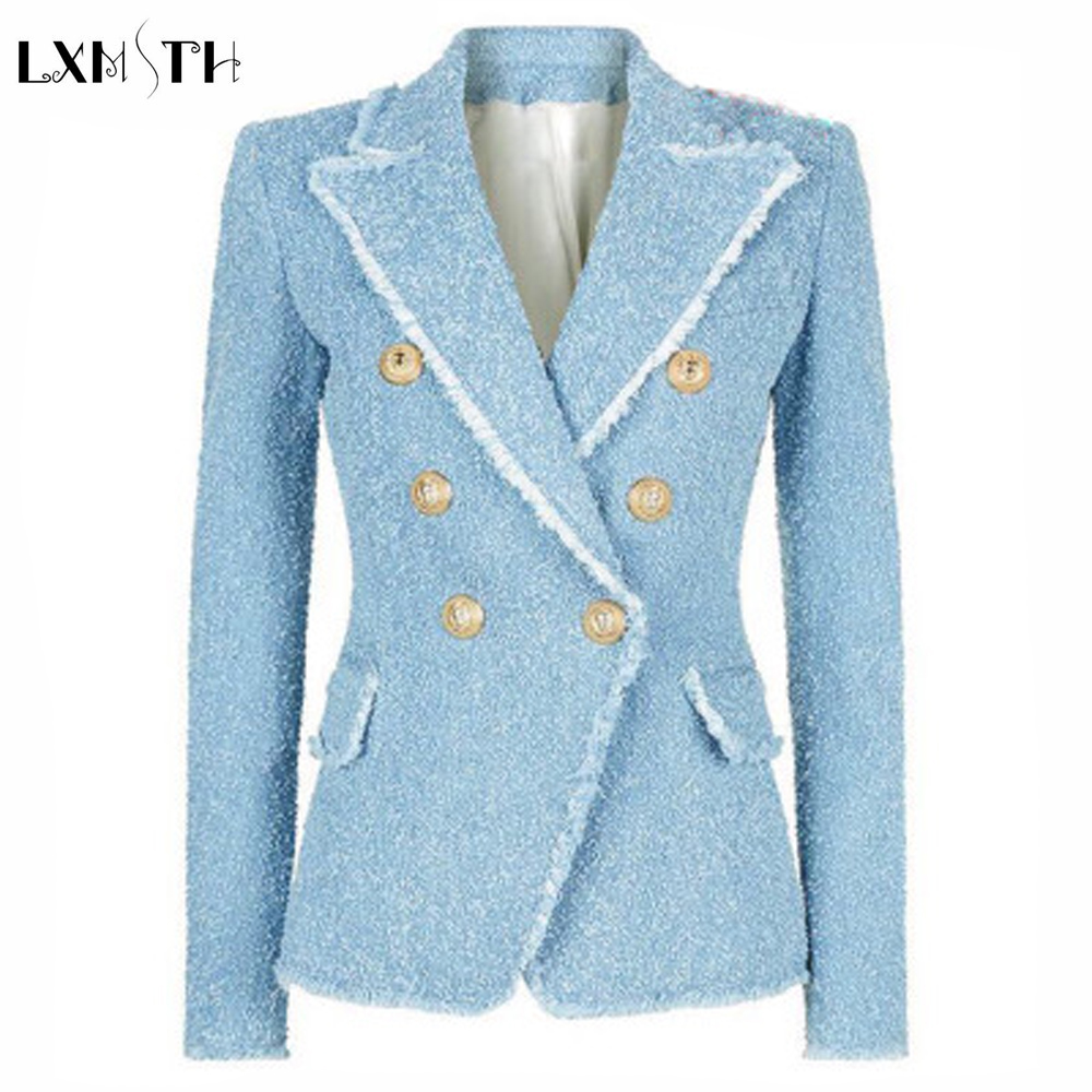 Fashion 2018 Spring Autumn Double Breasted Bleazer Women Buttons Tassel Fringe Slim Tweed Blazer and Jackets Blaser Feminino