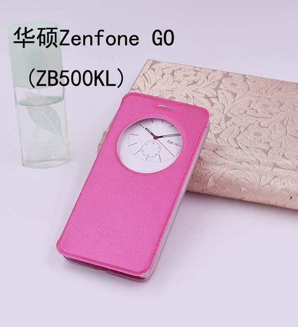 HQ flip cover circle window stand leather case For Asus Zenfone Go X00AD X00ADC X00ADA X00BD ZB500KG