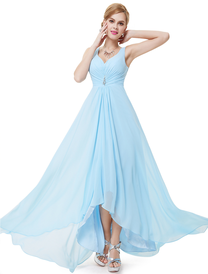 Clearance Sale Formal Bridesmaid Dresses Ever Pretty HE09983 Real Photo Double V Neck Rhinestones Empire