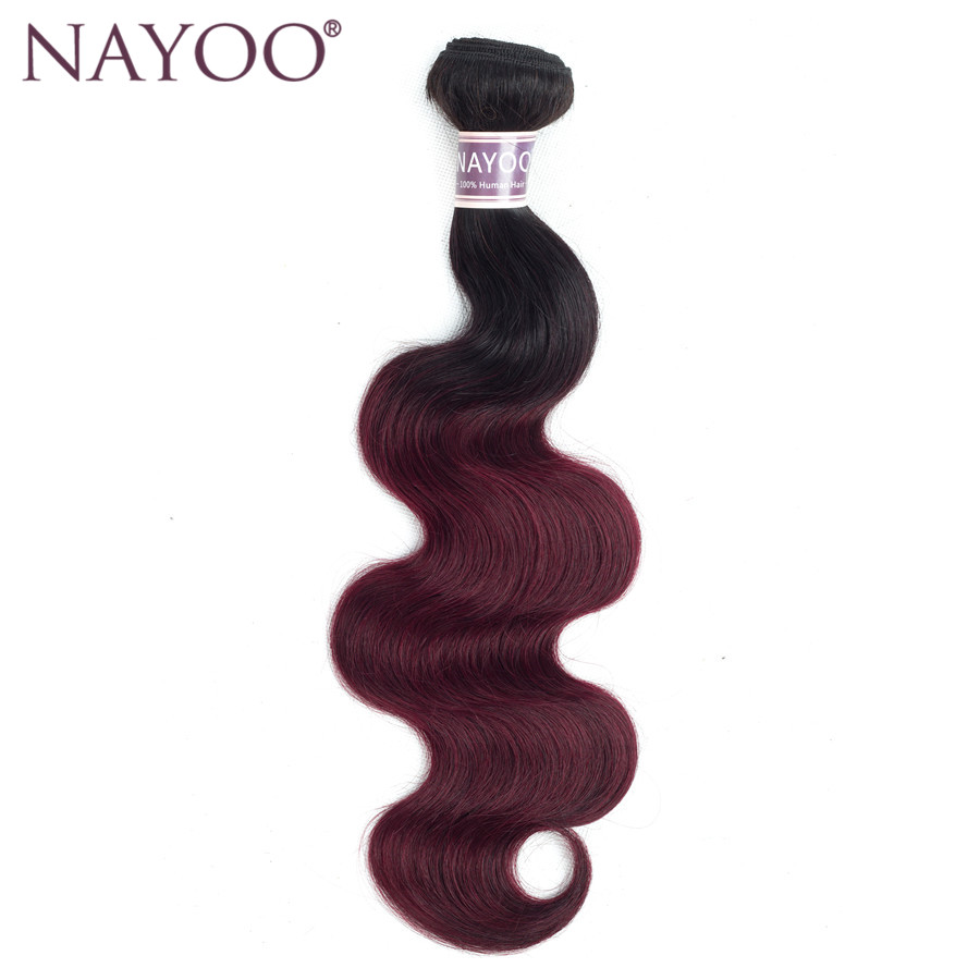NAYOO Ombre Brazilian Body Wave Hair 1B 99J/Burgundy Two Tone Human Hair Bundles 1PC Non Remy Hair Extensions 10-24