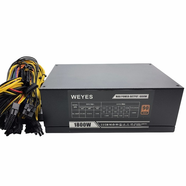 High Efficiency Rated 1800W Power Supply with EMC with Dual 8CM Low Noise Cooling Fans for Bitcoin Mining Machine Promotions