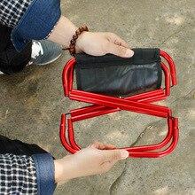 Fishing Gear Out of doors Transportable Aluminum Alloy Folding Stool Seashore Chair Small Stool