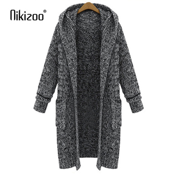 New Spring Autumn Casual Hooded Collar Knitted Sweater