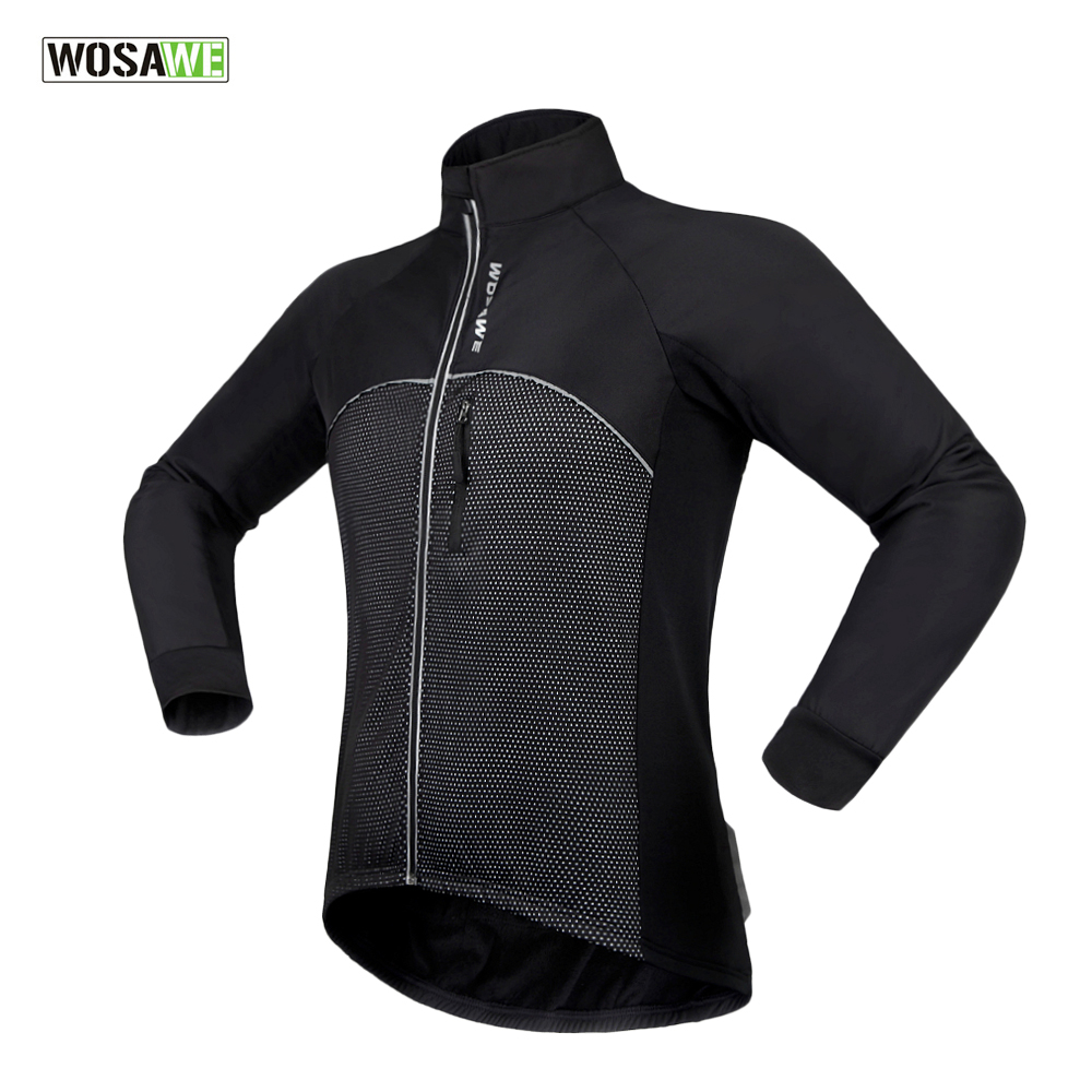 WOSAWE New Men Cycling Jacket Autumn Winter Thermal Fleece Mtb Bike Bicycle Jacket Long Sleeve Cycling Jersey  wosawe outdoor sports windproof winter long sleeve cycling jacket unisex fleece thermal mtb riding bike jersey men s coat