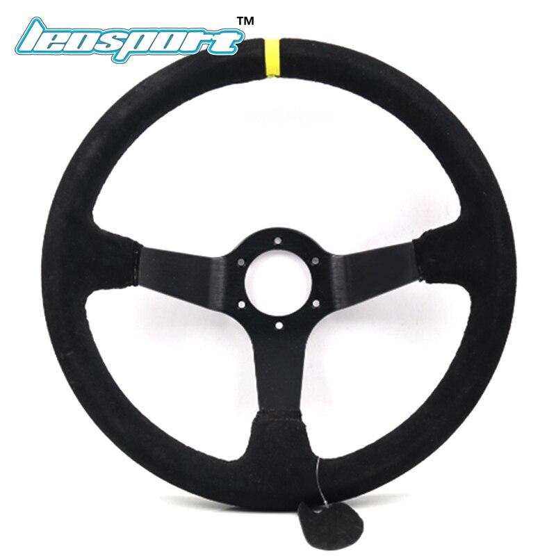 14 (350mm) Racing Steering Wheel suede Leather full black iron frame Steering Wheel Game Racing Steering Wheel with logo