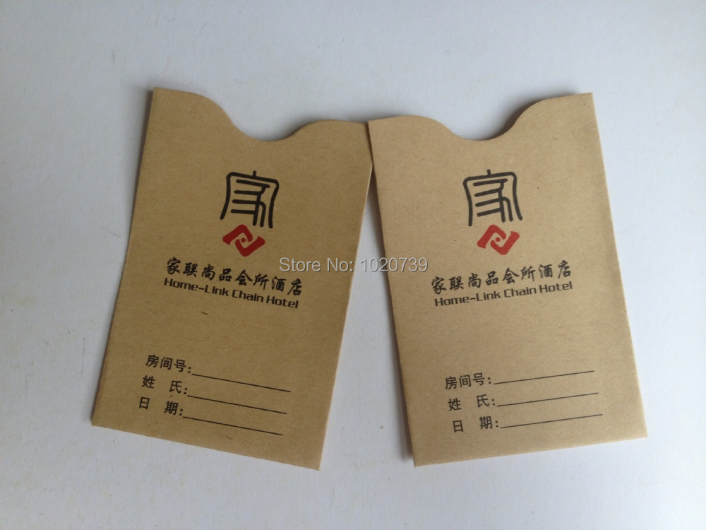 Hotel Key Card Holder Made By Kraft Paper Customized Business Card