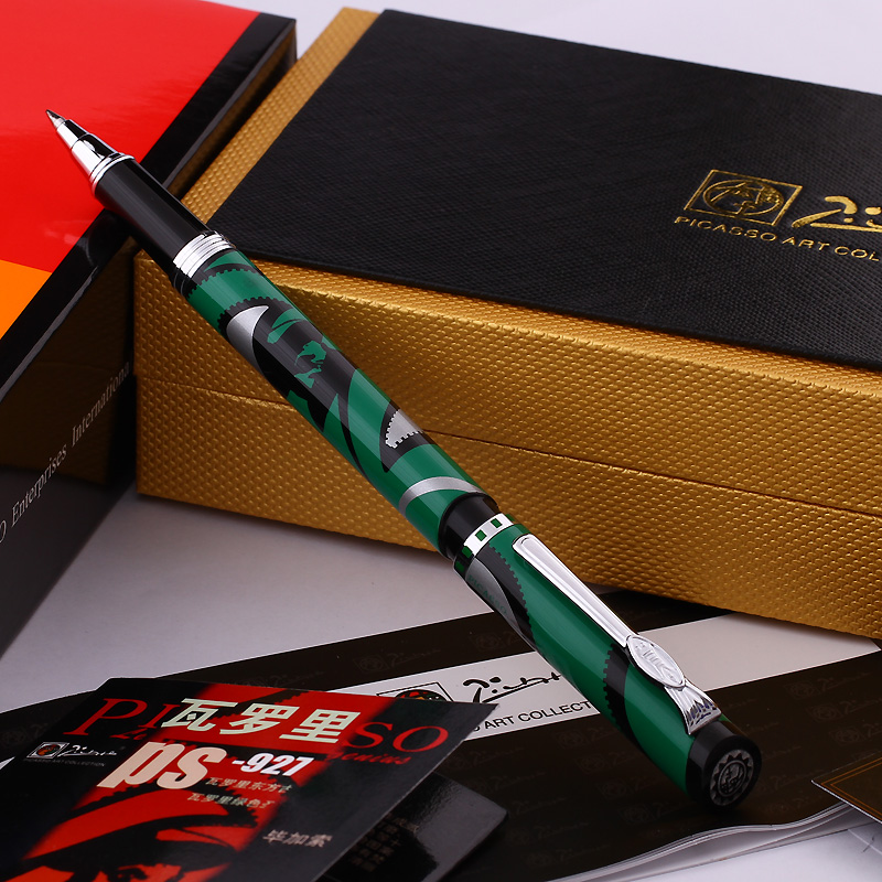 Pimio 927 Ancient Green St Vic Roller Ball Pen with 0.7mm Black Ink Refill Metal Ballpoint Pens Luxury Writing Stationery Gift pimio 989f pure white and silver clip roller ball pen a black refill ballpoint pens set luxury gift box package free shipping