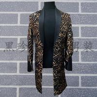 Золотой леопард печати Для мужчин длинные костюмы конструкции Сценические костюмы для певцов Для мужчин блесток Блейзер Одежда для танцев