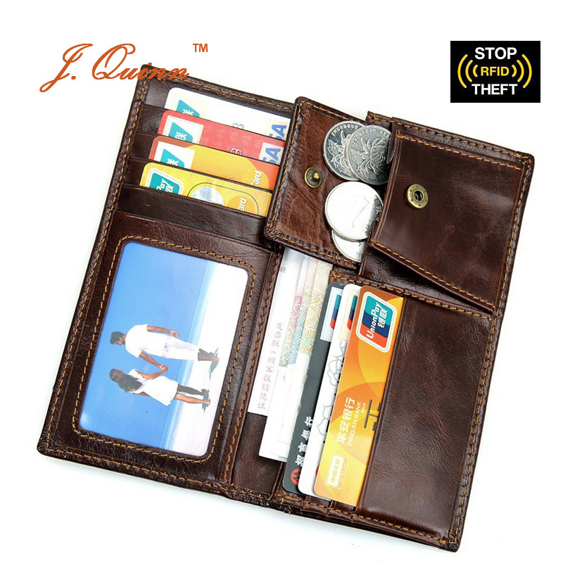 J.Quinn Long Coin Purse RFID Wallets for Men Women Bifold Genuine Cow Leather Vintage Credit Card Wallet with Zipper Business