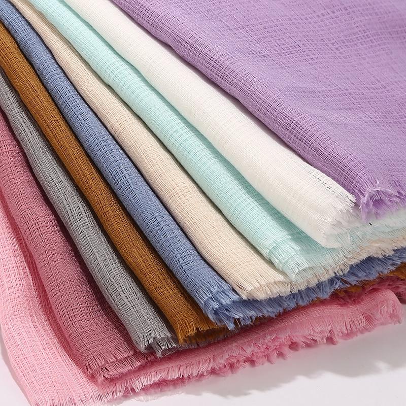 New Solid Maxi Plaid Hijab Scarf Shawls Muslim Scarves Soft Cotton Hijabs Pashmina Wraps Headband Scarves Big Size 180*90cm