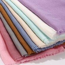 新しい固体マキシチェック柄ヒジャーブスカーフショールイスラム教徒のスカーフソフト綿hijabsラップヘッドバンドスカーフビッグサイズ 180*90 センチメートル
