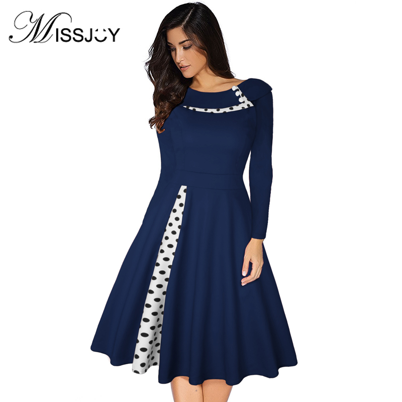 MISSJOY 2019 Plus Size 3XL Women Vintage Retro Long Sleeves 1950s Cocktail Ploka Dot Printed Button Patchwork Midi Party Dress