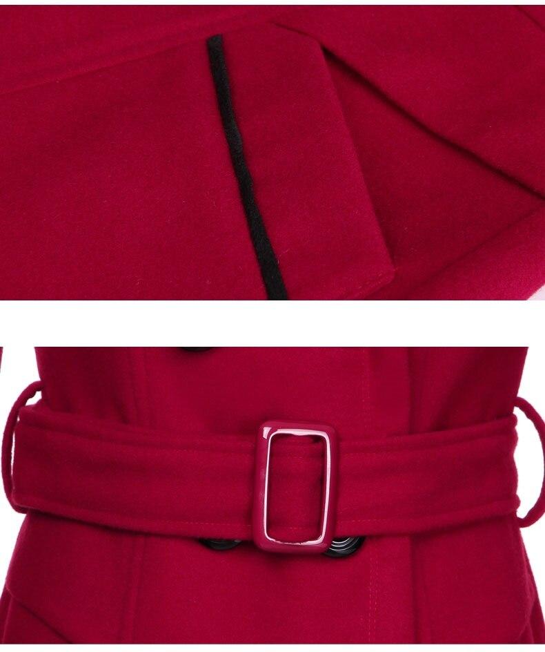 YAGENZ M-3XL Autumn Winter Wool Jacket Women Double Breasted Coats Elegant Overcoat Basic Coat Pockets Woolen Long Coat Top 200 14