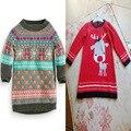 Bebé de Algodón largo Suéter de la Muchacha Del Niño Larga Prendas de Punto Vestido de Suéter Niño Niños Ropa 12 M-4 T