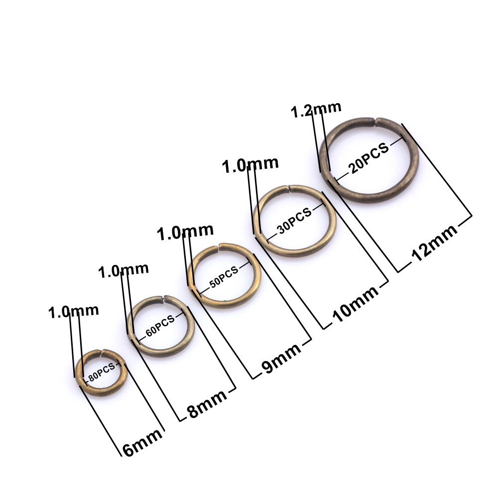 OlingArt 240pcs lot Dia 1 0MM Plating bronze Jump Ring 6mm 8mm 9mm 10mm 12mm link loop Mixed size DIY Jewelry making Connector in Jewelry Findings Components from Jewelry Accessories