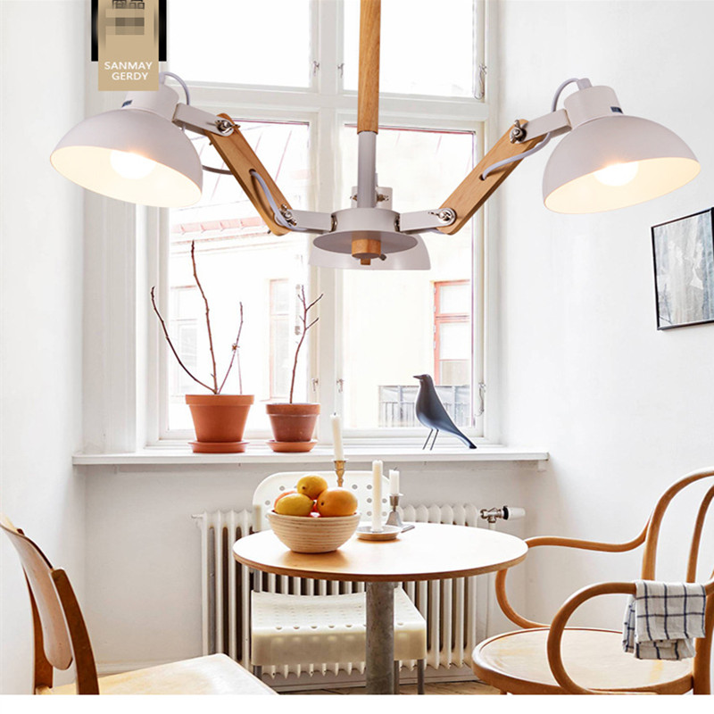 3/ 6 Head  Modern Contracted Janpen Style Wood Pendant Light Metal Cover Dining Room Light Study Light  AC90-265V Free Shipping 3 6 head modern contracted janpen style wood pendant light metal cover dining room light study light ac90 265v free shipping