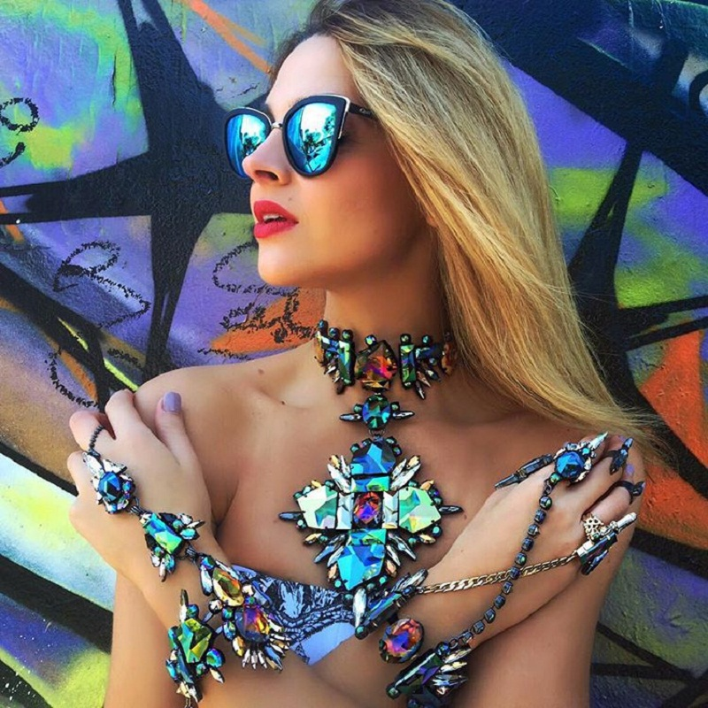 4 Colors Crystal Choker Necklace For Women Black Green Crystal Statement Square Pendant Necklace Body Party Jewelry JURAN