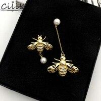 Wysoka jakość hot projekt AAA Cyrkon Asymetryczna pszczoła miód Pearl kolczyki złote dla kobiety moda luksusowa biżuteria
